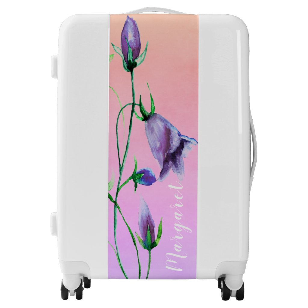 Watercolored purple bluebells on violet and peach luggage