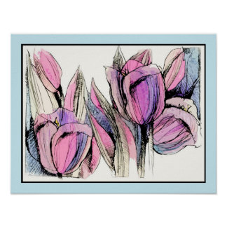 Watercolored Tulips Poster