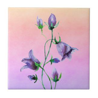 Watercolored violet bluebells on violet and peach