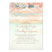 Watercolors Beach Wedding Pink Blue Card