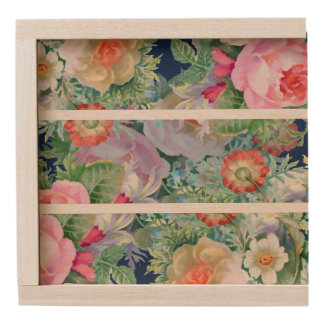 Watercolors Colorful Flowers Illustration Wooden Keepsake Box