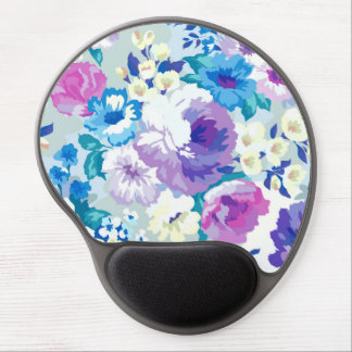 Watercolors Colorful Summer Flowers Pattern Gel Mouse Pad