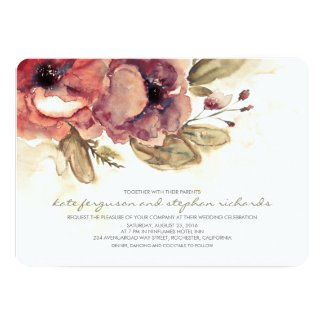 Watercolors - Floral Vintage Elegant Wedding Invitation