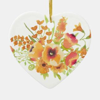 Watercolors flowers ceramic ornament