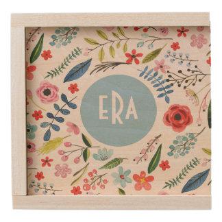 Watercolors Illustration Cute Floral Elements Wooden Keepsake Box