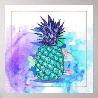 Watercolors Pine-Apple Illustration Poster