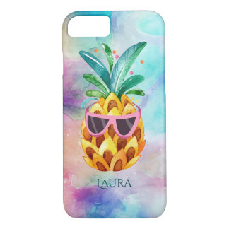 Watercolors Pineapple With Purple Sunglasses iPhone 8/7 Case