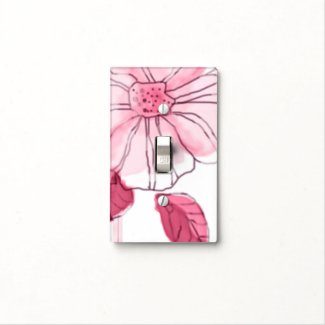 Watercolors Pink Flower On White