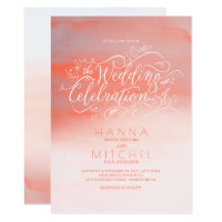 Watercolors Pink Modern Typography Wedding Invites