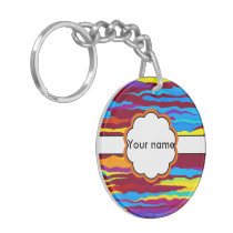 Watercolors waves abstract design keychain