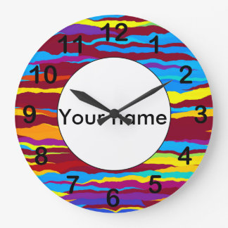 Watercolors waves abstract design large clock