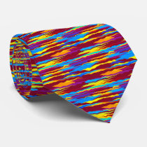 Watercolors waves abstract design neck tie