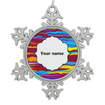 Watercolors waves abstract design snowflake pewter christmas ornament