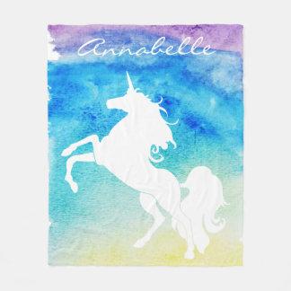 Watercolors White Unicorn Personalized Name Fleece Blanket