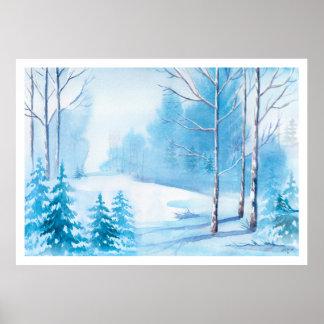 Watercolors Winter Scene Nature Landscape Poster