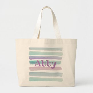 WATERCOLORS WITH NAME large tote bag