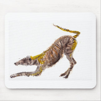Watercolour abstract painting of lurcher dog mouse pad
