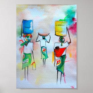 Watercolour africano que pinta lustre superior de  posters