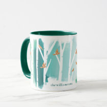 Watercolour Aqua Wash Birch Trees & Gold Doves Mug