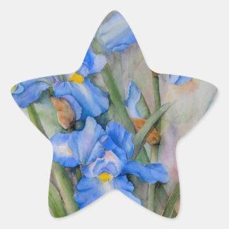 Watercolour azul del iris pegatina en forma de estrella