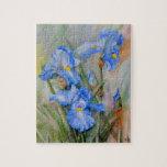 Watercolour azul del iris rompecabeza