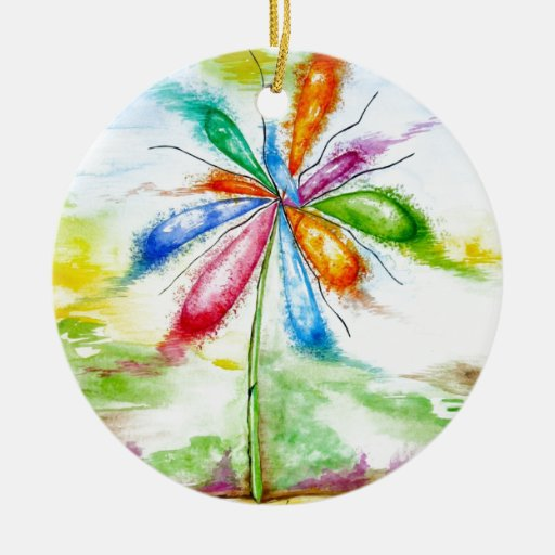 Watercolour, balloon flower Double-Sided ceramic round christmas ornament