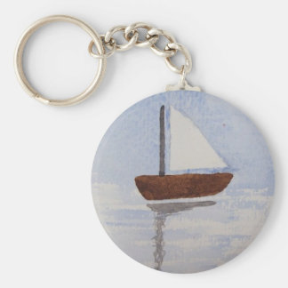 Watercolour Boat Basic Round Button Keychain