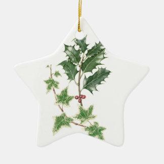 Watercolour botánico de la puntilla del acebo y de adorno navideño de cerámica en forma de estrella