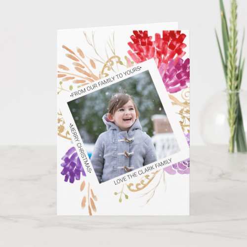 Watercolour Bright Fun Frame Seasons Greetings Card