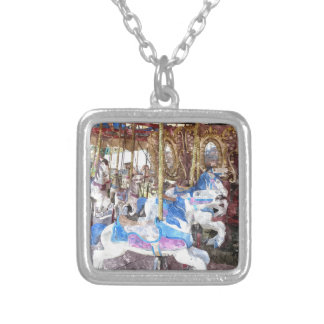 Watercolour Carousel Silver Plated Necklace