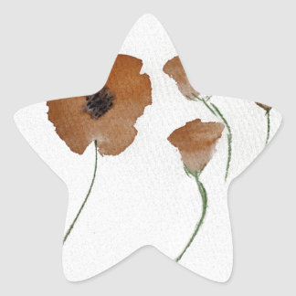 Watercolour de la amapola pegatina en forma de estrella