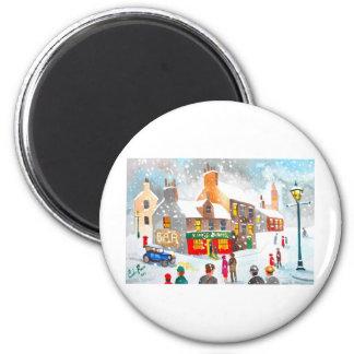 Watercolour de la escena de la nieve del invierno  imán redondo 5 cm