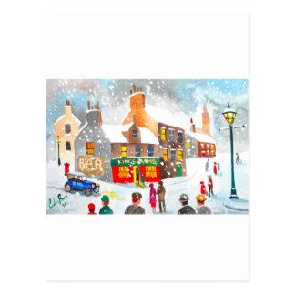 Watercolour de la escena de la nieve del invierno tarjeta postal