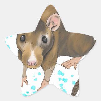 Watercolour de la rata pegatina en forma de estrella