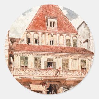 Watercolour de Steyr Bummerlhaus de Rudolf von Alt Pegatina Redonda