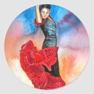 Watercolour del BAILARÍN del FLAMENCO Pegatina Redonda