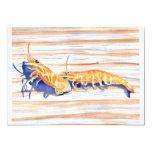 Watercolour del camarón en un muelle, cebo de invitación 12,7 x 17,8 cm