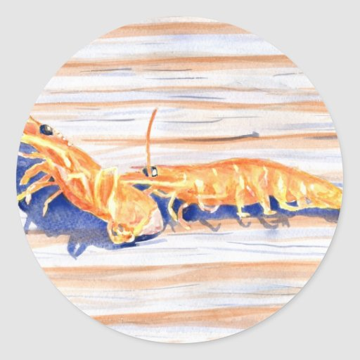 Watercolour del camarón en un muelle, cebo de pegatina redonda