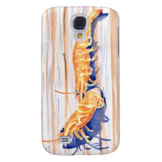 Watercolour del camarón en un muelle, cebo de pesc funda para galaxy s4