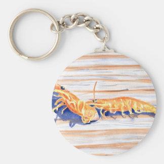 Watercolour del camarón en un muelle, cebo de pesc llaveros