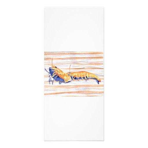 Watercolour del camarón en un muelle, cebo de pesc lona publicitaria