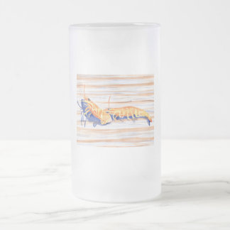 Watercolour del camarón en un muelle, cebo de pesc taza cristal mate