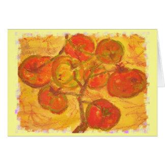watercolour del racimo del tomate tarjeta de felicitación