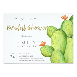 WATERCOLOUR DESERT CACTUS FLOWER  BRIDAL SHOWER CARD