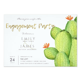 WATERCOLOUR DESERT CACTUS FLOWER  ENGAGEMENT CARD