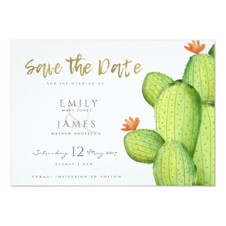 WATERCOLOUR DESERT CACTUS FLOWER  SAVE THE DATE CARD