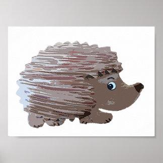 Watercolour Effect Hedgehog Poster