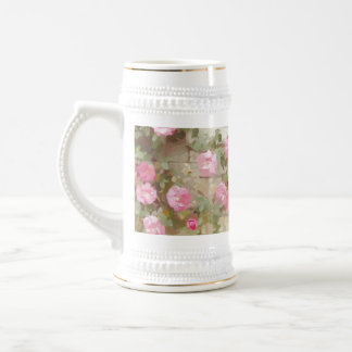 Watercolour Effect Pink Climbing Roses Beer Stein