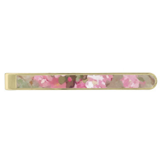 Watercolour Effect Pink Climbing Roses Gold Finish Tie Bar