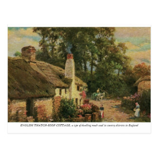 Watercolour English Thatch-roof cottage Postcard